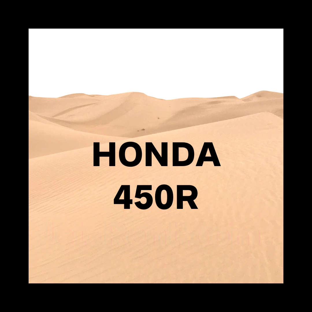 Black Honda 450r over an image of Imperial Sand Dunes
